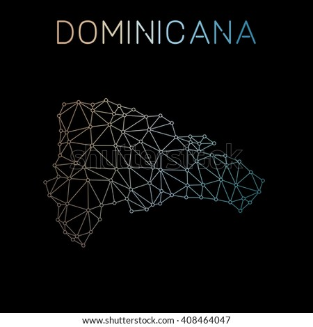 Dominican Republic network map. Abstract polygonal map design. Network connections vector illustration. - stock vector