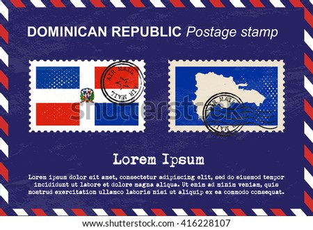 Dominican Republic postage stamp, postage stamp, vintage stamp, air mail envelope. - stock vector