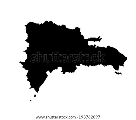 Dominican Republic vector map  isolated on white background. High detailed silhouette illustration.   - stock vector