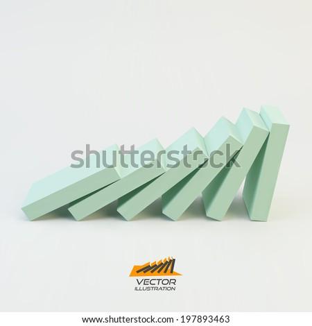 Domino effect concept. Business 3D concept illustration. Vector illustration. - stock vector