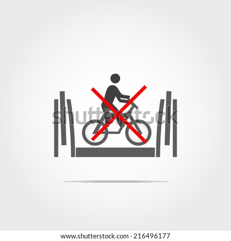 don't used bicycle in escalator icon - stock vector