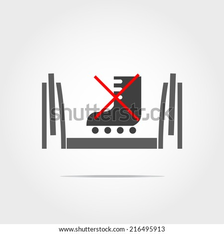 don't used skate shoes in escalator icon - stock vector