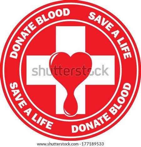 Donate blood emblem - stock vector