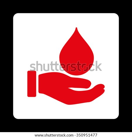 Donate Blood vector icon. Style is flat rounded square button, red and white colors, black background. - stock vector