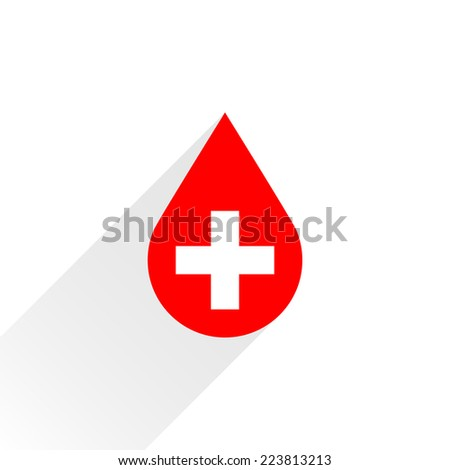 Donate drop blood red sign with white cross with gray long shadow in simple flat style. Graphic design elements vector illustration save in 8 eps - stock vector