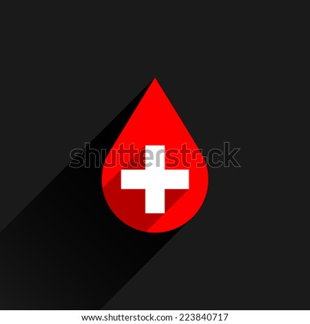Donate drop blood red sign with white cross with long shadow on dark gray background in simple flat style. Graphic design elements vector illustration save in 8 eps - stock vector