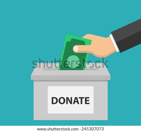 Donate money - Donation concept in flat style - hand putting money in the donation box - stock vector