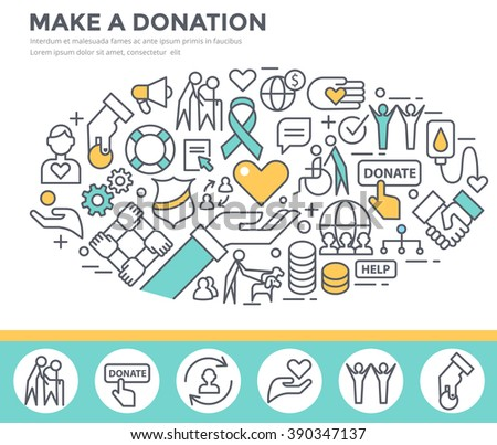 Donation and volunteer work concept illustration, thin line flat design - stock vector