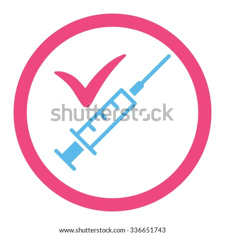 Done Vaccination vector icon. Style is bicolor flat rounded symbol, pink and blue colors, rounded angles, white background. - stock vector
