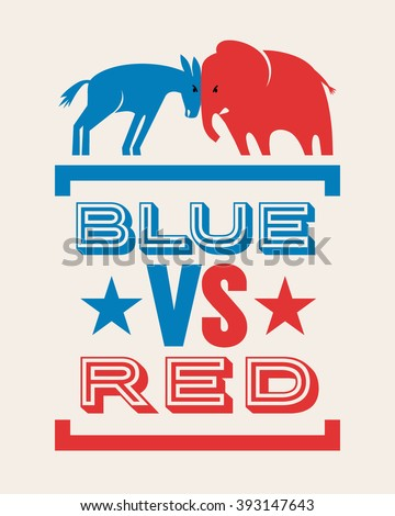 donkey and elephant blue versus red political election banner design - stock vector