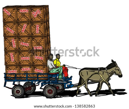 DONKEY CART CARRYING CRATE overloaded - stock vector