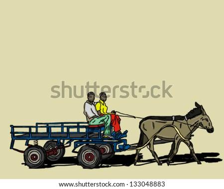 Donkey cart riding along - stock vector