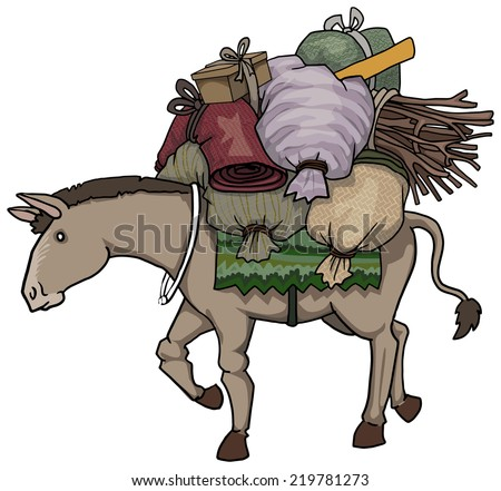 Donkey character loaded with various heavy loads, vector illustration - stock vector