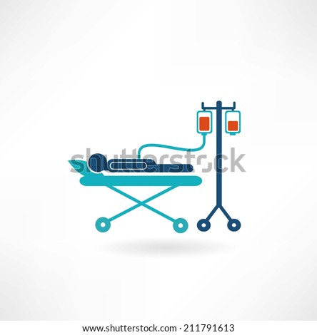 donor lies on a gurney and blood transfusions icon - stock vector