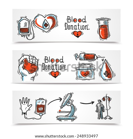 Donor organ and blood donation sketch horizontal banners set isolated vector illustration - stock vector