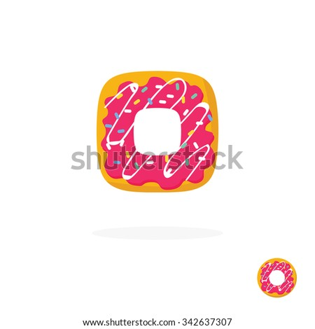 Donut logo icon. Tasty flavored high quality doughnut bagel bakery symbol with glazing and pink white cream. Vector flat style illustration. - stock vector