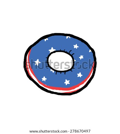 donut with american flag motif - stock vector