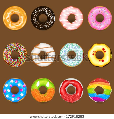 Donuts Collection Set - stock vector