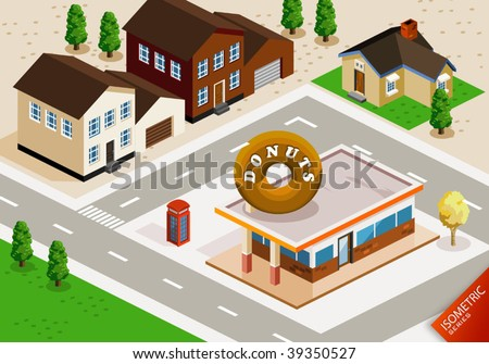 Donuts Shop Isometric. Isometric Series. Compose Your Own World Easily with Isometric Works. - stock vector