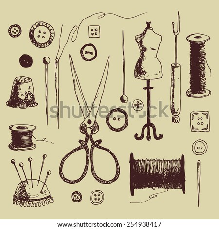 doodl? set of sewing elements. hand drawn illustration - stock vector