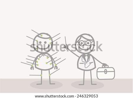 Doodle : acupuncturist  - stock vector