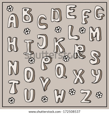 Doodle alphabet, hand drawn font, childish style, cartoon letters, ABC vector illustration, beige background - stock vector