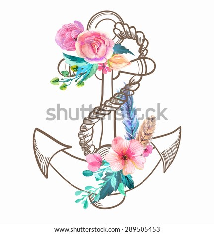 Doodle Anchor with watercolor flowers and feather over white, Vector - stock vector
