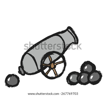 doodle ancient cannon with cannon balls, vector illustration - stock vector