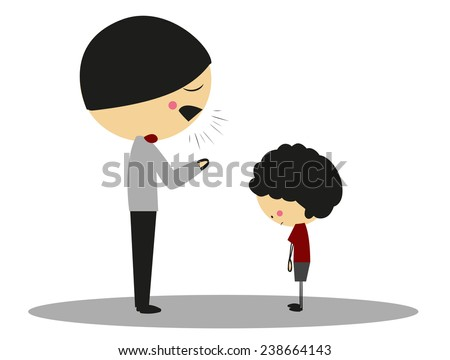 Doodle angry father to son - Full Color - stock vector