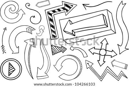 Doodle Arrow Collection - stock vector