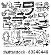 doodle arrow set - stock vector