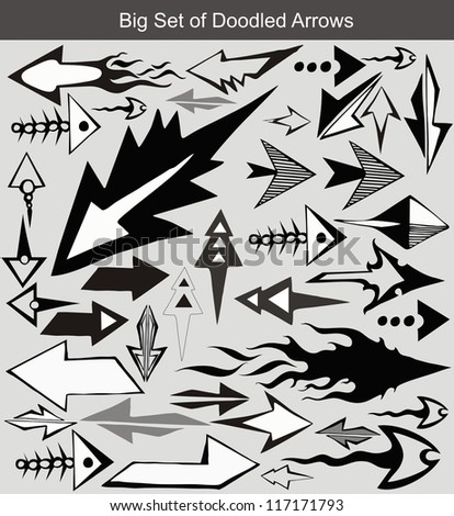 doodle arrow set - stock vector