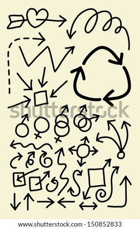 Doodle Arrow Symbols. Good use for your symbol, web icon, cursor, or any design you want. Easy to use, edit, or change color. - stock vector