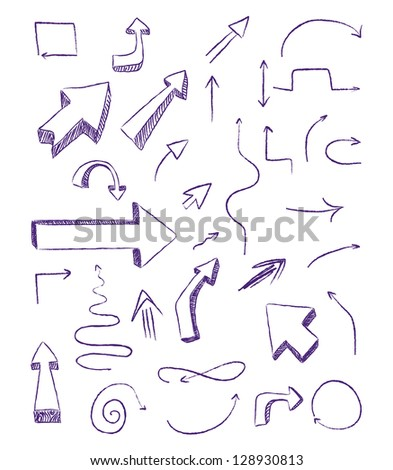 doodle arrows as design elements - stock vector