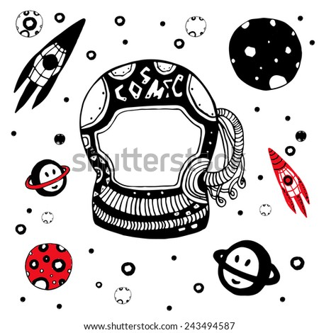 Doodle astronomical objects set. Hand drawn cosmic vector illustration - stock vector