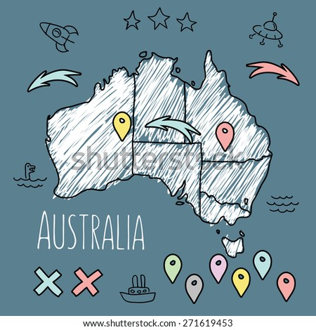 Doodle Australia map on blue chalkboard with pins and extras vector illustration - stock vector