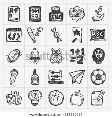 doodle back to school icons - stock vector