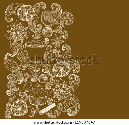 doodle background for tea time and place for text, vector - stock vector