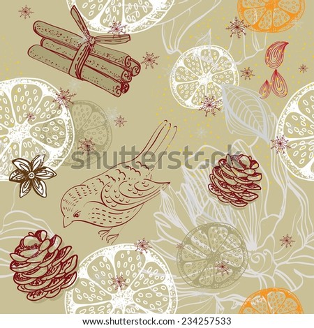 Doodle background with citrus, bird and snowflakes, seamless winter pattern - stock vector