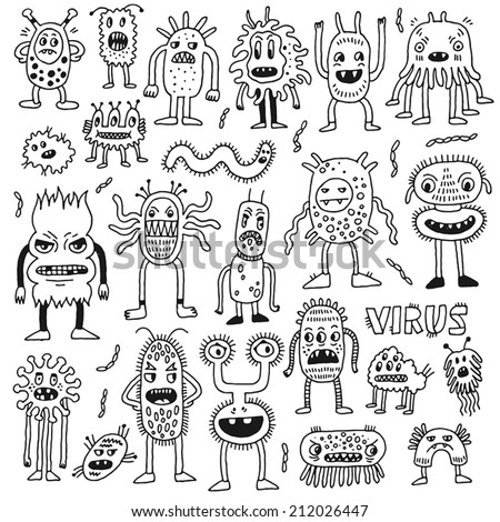 Doodle bacteria germs set. Hand drawn vector illustration. - stock vector