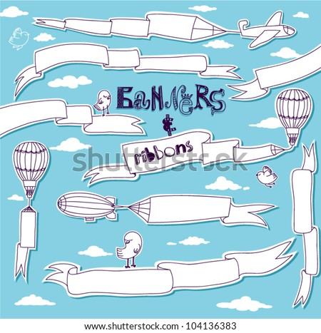 Doodle Banners and Ribbons - Set of hand drawn banners and ribbons carried by the planes, hot air balloons and blimps - stock vector