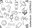 doodle beach seamless pattern - stock vector