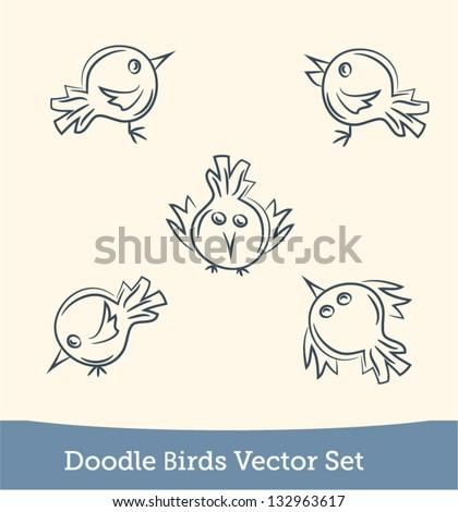 doodle bird set - stock vector