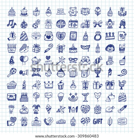 Doodle Birthday icons - stock vector