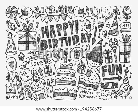Doodle Birthday party background - stock vector