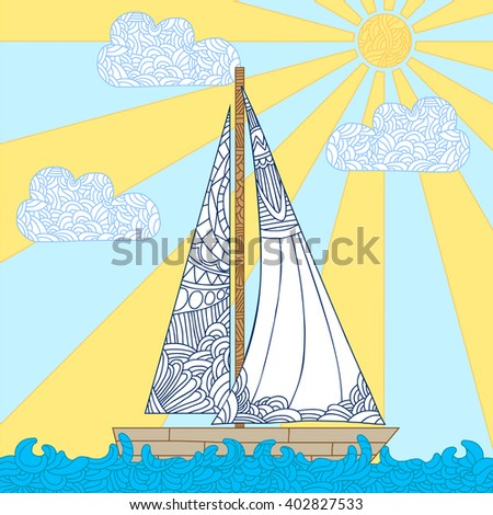Doodle boat floating on the waves. Can be used for coloring book page design, anti stress hobby for adult. Vector bright illustration. - stock vector