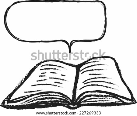 doodle book and speech bubble - stock vector