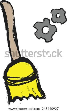 doodle broom and cogwheel gear mechanism vector icon - stock vector