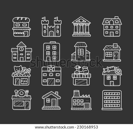 doodle building icon set - stock vector