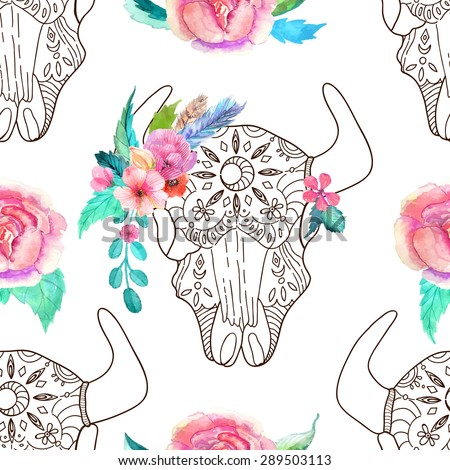 Doodle bull skull with watercolor flowers and feathers over white, seamless pattern, Vector - stock vector